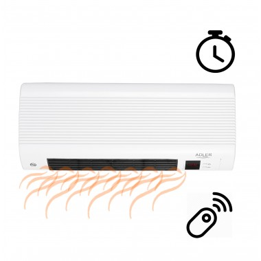 Обогреватель настенный тепловая завеса Adler 2200 Вт электрический керамический тепловентилятор с пультом с таймером ветродуйка на стену для дома экономная дуйка на дверь керамический дуйчик белый AD7714W