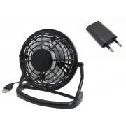 Вентилятор настольный маленький бесшумный мини юсб тихий Airflow Black USB 220V FL092001