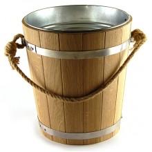 Ведро для бани и сауны дубовое BonRomProm 5 л. с металлической вставкой