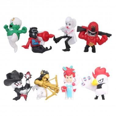 Набор фигурок Brawl Stars 8 шт - Rockstar Poco, Crow Spider Man, Bo, Gene, Mecha Bull, Veterinary Pam, Crow, Clown Mortis. Фигурки героев Бравл Старс - Поко, Кроу, Бо, Джин, Булл, Пэм, Ворон, Мортис. В блистере. FToys 091-20026