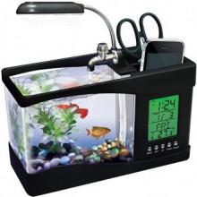 Аквариум USB c подсветкой органайзер часы термометр Черный Greenway GW00052